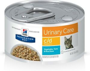 Hill's c/d Multicare Urinary Vegetable, Tuna & Rice Stew Can Cat Food 12/2.9 oz
