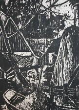 1967 German expressionist landscape art print signed Helena Scigala