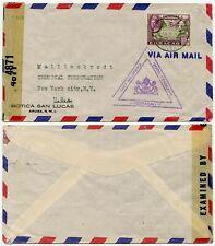 CURACAO WW2 AIRMAIL DOUBLE CENSORED USA BOTICA SAN LUCAS PRINTED ENV 1943
