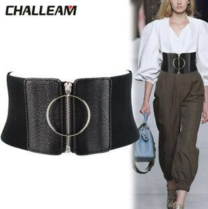 Black Women Waist Cincher Corset Wide Waistband Faux Leather Elastic Zipper Belt
