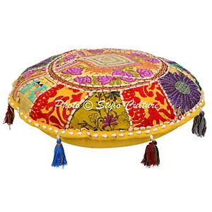 Indian Embroidered  Cotton Cushion Cover Cotton Ottoman Pouf Footstools Cover 18
