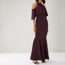 Aubergine Purple Cold Shoulder Mermaid Tail Maxi Dress From Coast Size 12
