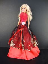 Red Gown with Black, Gold and Red Lace on the Front Made to Fit Barbie Doll