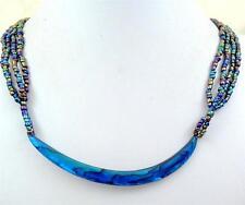 "Handmade 4"" Crescent Blue Paua Abalone Shell Beads necklace 22"" length ; BA362"