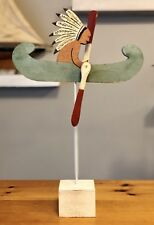 Old Original Early 1900s Folk Art Painted Wood Whirligig Native Indian In Canoe