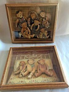 2x  Thomas Emery SIGNED 3-D Art Originals (Nita Showers1985/1986) Framed
