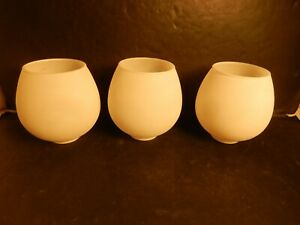 """White Frosted Glass Ceiling Fan Lamp Shade 2"""" Fitter OD Set of 3"""