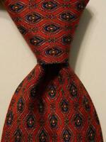 ROBERT TALBOTT Studio Mens 100% Silk Necktie USA Designer Geometric Red/Blue EUC