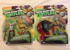 TMNT TARTARUGHE NINJA Figure Combat Pack Set Leonardo Michelangelo