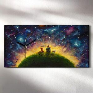 Wandbild Leinwand Bilder mit Uhr 60x30 Abstrakte Ölmalerei Kunst Weltraum