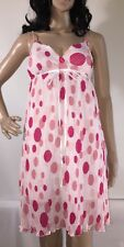 Sisly Party Sundress Small Sheer Pink And White Polka Dot Pleated Summer Dress