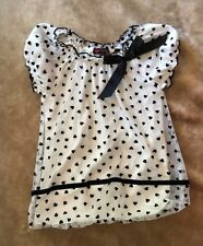 Tempted Shirt girls size 4 girls black and white dressy hearts