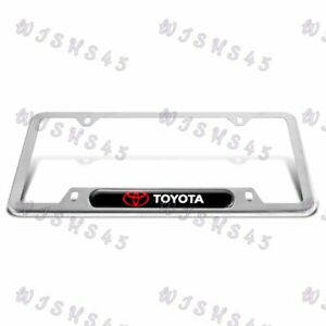 For 1PCS TOYOTA Black Silver Stainless Steel Metal License Plate Frame Brand New