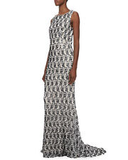 NWT ALICE+OLIVIA  SABA SEQUIN BEADED LACE GOWN DRESS BLACK/NUDE SIZE 4 $1,698.