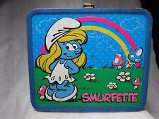 The Smurfs Smurfette Tin Metal Lunch Box Storage Container Lunchbox 2010 Peyo