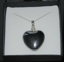 Large Silver Hematite & Moonstone Gemstone Heart Pendant Necklace in Gift Box