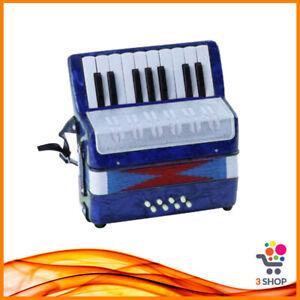 Mini Fisarmonica Organetto per Bambini Tastiera Musicale 17 Tasti 8 Bassi Blu