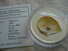 2007 Palau, Yellow gold pearl, 5 DOLLARS,  perle, COA