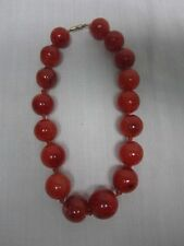 ANTIQUE CHINESE ROUND GENUINE NATURAL HONEY COGNAC AMBER BEAD CHOKER NECKLACE