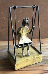 Vintage GIRL ON SWING SCULPTURE Metal & wood
