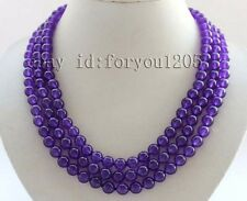 "19-20-21"" 3rows Genuine Natural 8mm Round Purple Jade Necklace #f2480!"