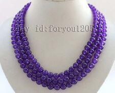 "19-20-21"" 3rows Genuine Natural 8mm Round Purple Jade Necklace #f2480!"
