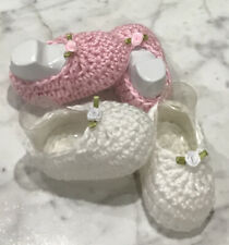 Baby Girl Booties Shoes crochet handmade Girl 0-3 Months Newborn Pink White Set