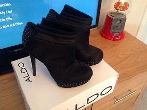 ASOS Black Studded Leather Ponyskin Ankle Boots, Shoe boots, UK 6