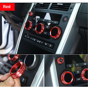 Red AC Air Condition Knob Buttons Ring Cover Trim For Discovery Sport 2015-2018