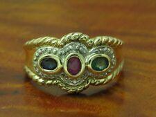 8kt Gelbgold Ring mit Diamant, Saphir, Smaragd & Rubin Besatz / 3,0g / RG 57