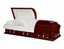 Funeral Casket Cherrytone Poplar Wood With Cream Velvet Interior Coffin