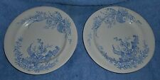 "2 ANTIQUE BROWNHILLS POTTERY CO HONITON BLUE/WHITE TRANSFERWARE 8 1/4"" PLATES"