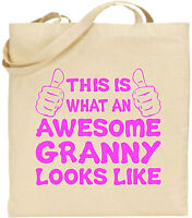 Awesome Granny Large Cotton Tote Shopping Bag Canvas Grand Parent Day Funny Gift