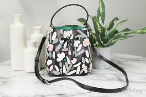 Kate Spade Eva Small Fete Floral Print Pebble Leather Crossbody Bucket Handbag