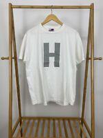 VTG Tommy Hilfiger Men's Big H Short Sleeve White T-Shirt Size M USA