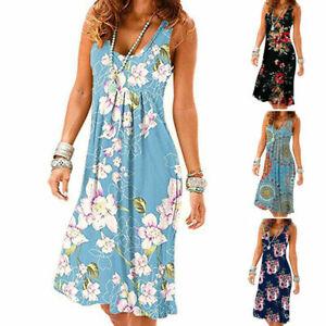 Boho Women Loose Sleeveless Print Vest Ladies Summer Swing Holiday Casual Dress