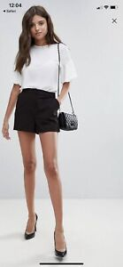 Asos Design Tailored A-line Black Shorts BNWT Size 14