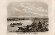 Stampa antica POTI foce fiume RIONI Georgia 1861 Antique print ანტიკური ბეჭდვითი