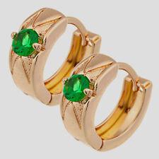 10K Yellow Gold Filled GF Emerald Hoop Earrings Earings 10mm ID, 5mm Wide.