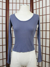 James Perse Blue Long Sleeve Top Womens Size 2 Ribbed Casual Base Layer Style
