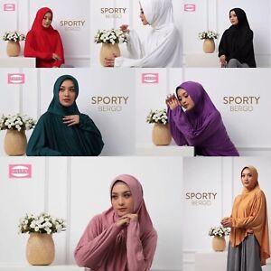 Sporty Bergo Khimar Tunic Hijab One Piece Slip On Pinless Head Scarf