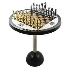 """Minimalist Brass Metal Luxury Chess Pieces, Board and Table Set - 21"""" tall"""
