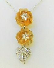 Carved Citrine Flowers and Diamond Pendant 14K White Gold