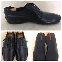 Prada 🔥#1446 mens casual Black Soft Leather Laceup Shoes US Sz 12 black leather
