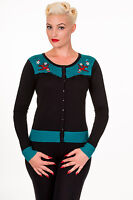 Swallows Emily Black Emerald Rockabilly Retro Vintage Cardigan Banned Apparel