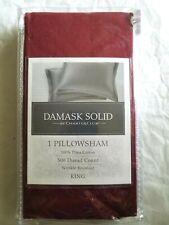 "Charter Club Damask Solid 500 Thread Count King Pillowcase Burgundy 20"" x 36"""