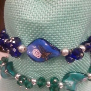 Vintage Handpainted Glass Faux Pearl Beaded Stretch Bracelets Set Of 2