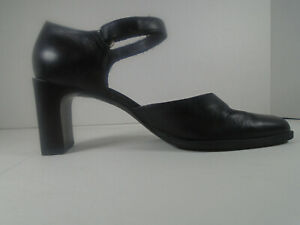 CONNIE Womens Size 7M Black ankle strap high heel shoes faux leather