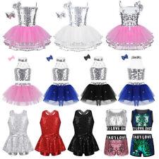 Sequins Girls Jazz Balllet Dance Leotard Dress Modern Tap Hip Hop Dance Costumes