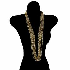 "Ingrid Cusson  Eleven Strand 36"" Long Necklace Crystal Accents Vintage Rare"